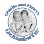 Personalised Boy Twins Photo Christening Sticker